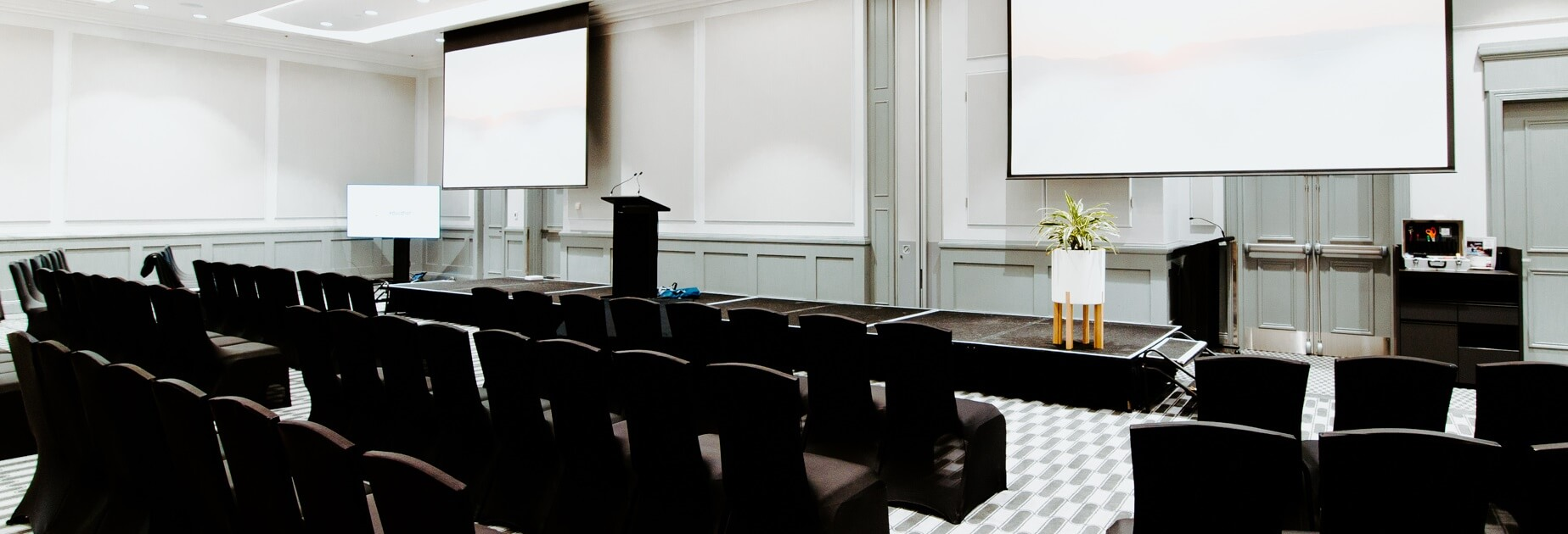 black and white meeting room