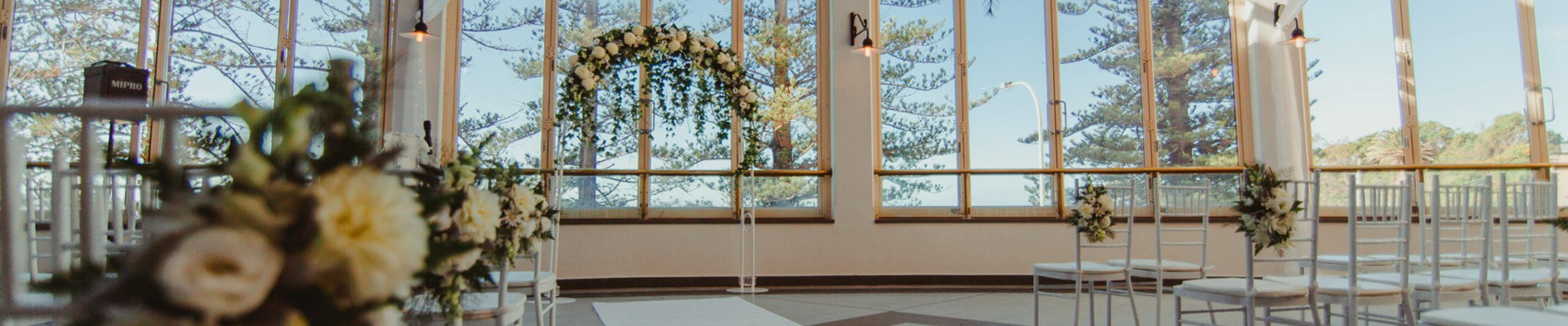flower arch in wedding venue