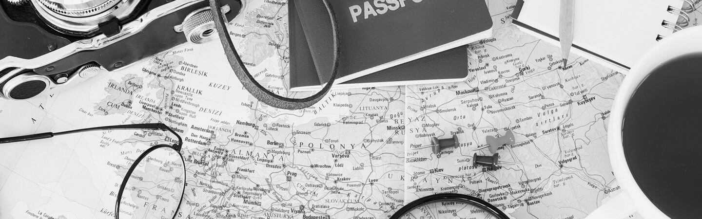 map and passport black and white